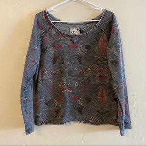 Volcom Gray Graphic Wide Neck Sweatshirt Large